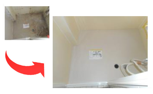 洗い場床シール貼り